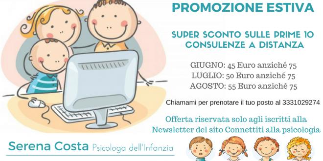 Contatta una psicologa dell'infanzia: promozione estiva